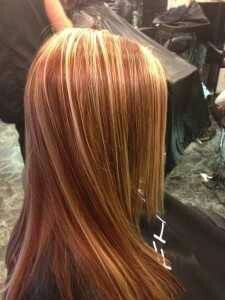 Blonde and copper highlights