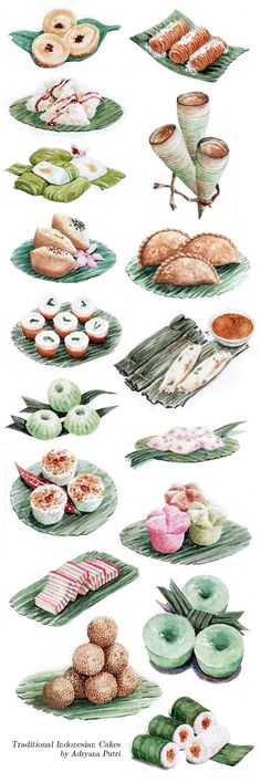 Watercolor illustrations of traditional Indonesian cakes and some of its ingredients. Done for Sari Sari Cake Shop in Bandung.