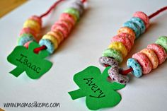 Mamas Like Me: Shamrock Rainbow Necklaces - great fine motor skills for #kids #St.Patrick's Day