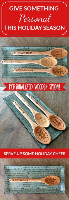 "You will love our brand new 12 1/4 inch-long Personalized Decorative Wooden Spoons, especially at such an incredible price! Choose between three beautiful designs (""Hadlock"", ""Hannah & Christian"", and ""Kelly's Kitchen""). The spoons have a convenient hole at the tip, perfect for hanging in any location you wish to add a touch of personalization and class. Order yours today!"
