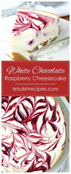 White Chocolate Raspberry Swirl Cheesecake Recipe -- This beautiful dessert features a creamy white chocolate cheesecake base with a tart ribbon of red raspberries swirled throughout. White Chocolate Raspberry Cheesecake, Chocolate Cheesecake Recipes, Best Cheesecake, Cheesecake Desserts, White Chocolate Desserts, Cheesecake Squares, Best Homemade Cheesecake Recipe, Raspberry Cheesecake Cookies, White Desserts