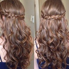 Simple updos for long curly hair - New hair hairstyles 2018 - . - Simple updos for long curly hair – New hair hairstyles 2018 – - Dance Hairstyles, Down Hairstyles, Pretty Hairstyles, Wedding Hairstyles, Hairstyles 2018, Hairstyle Ideas, Easy Prom Hairstyles, Sweet 16 Hairstyles, Half Braided Hairstyles