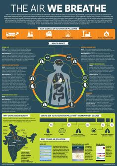 Infographic on air Pollution and its impact on human body. Air Pollution Facts, Air Pollution Poster, Environmental Pollution, Environmental Health, Project Cover Page, Cleaning Company Logo, Save Planet Earth, Air China, Environment Day