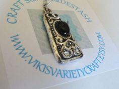 Vintage Silver Cabochon Charm Pendant Black by VikisVarietyCraft, $2.00