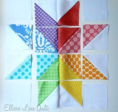 How To Sew A Block Quilt - Sewing Method Quilt Block Patterns: Starflower Block Star Quilt Blocks, Star Quilts, Half Square Triangle Quilts, Square Quilt, Mini Quilts, Quilting Projects, Quilting Designs, Quilting Ideas, Pattern Blocks
