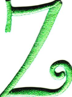 "Amazon.com: [Single Count] Custom and Unique (1 3/4"" to 2"" Inches) American Alphabet Swirl Script Thin Letter Z Iron On Embroidered Applique Patch {Green Color}: Arts, Crafts & Sewing"
