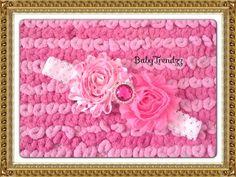 Valentine pink heart shabby flower headband/ Photo by BabyTrendzz