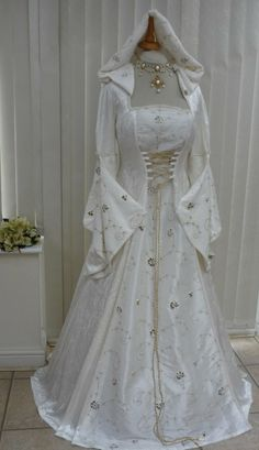 Cream Medieval Renaissance Hooded Wedding Dress Pagan, Medieval Dresses and Gowns for Weddings, Handfasting Ceremonies and other Special Occasions Pagan Wedding Dresses, Renaissance Wedding Dresses, Wedding Dresses With Straps, Designer Wedding Dresses, Wedding Gowns, Bridesmaid Dresses, Frozen Wedding Dress, Most Expensive Wedding Dress, Pretty Dresses