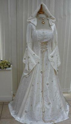 Wedding dresses ivory medieval renaissance hooded wedding dress