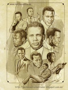 "SIdney Poitier,illustration from the book ""Hombres de Hollywood"".Nacho Castro.Diábolo ediciones"