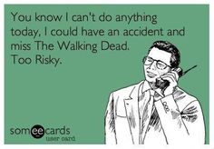 You know I can't do anything today, I could have an accident and miss The Walking Dead. Too risky. #ecards