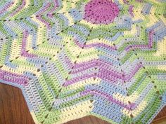 Watercolors Star Ripple Blanket  40 inch Gender by BeyondCrochet