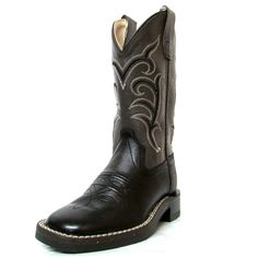 Old West Child Black Square Toe Boots - Youth Square Toe Boots, Kids Boots, Black Square, Old West, Cowboy Boots, Youth, Children, Shoes, Baby