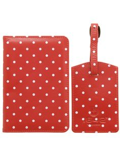 Lichfield Leather Polka Dot Passport Cover Gift Set in Red