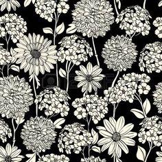 Floral seamless dessin�s � la main fleurs. Noir et blanc photo