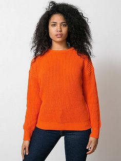 Orange Unisex Recycled Fishermans Pullover, American Apparel