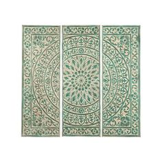 Transport yourself to the lush gardens of a Moroccan palace with the Kasbah Wall Medallion. The distressed green paint soothes the soul and complements the detailed stenciling of its medallion design.