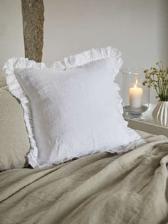 Charming, comfy, and eco-friendly, our white linen ruffle edge cushion is a lovely addition to a sofa, armchair or bedroom. White Throws, White Throw Pillows, White Cushions, Bed Pillows, Linen Duvet, Ruffle Bedding, Bed Linen Sets, Bedding Sets, Luxury Cushions