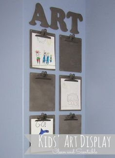 Use clip boards to make an art display for kids. The art can easily be changed out as they make more.  50 Insanely Clever Organizing Ideas