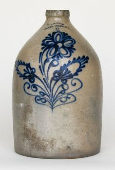 Heavily decorated floral crock
