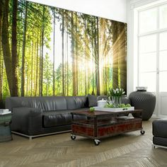 Wall Mural Forest Creates A Stylish Ambience In The Apartment