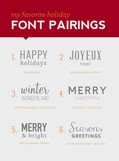 My Favorite Holiday Font Pairings, great for your holiday marketing!