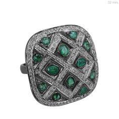 3ct Emerald Ring Pave Diamond 925 Sterling Silver Gemstone Vintage Style Jewelry #raj_jewels