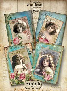 LITTLE MODEL - Digital Collage Sheet 4 Printable Vintage Greeting Cards Ephemera Gift tags Paper Craft Scrapbook