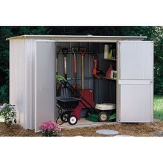 Arrow Shed Garden 8 x 3 ft. Shed - Gardening may be dirty work, but the Arrow Shed Garden 8 x 3 ft. Shed makes it a whole lot easier to clean up afterward. With four interior shelves. Steel Storage Sheds, Storage Shed Kits, Shed Organization, Garden Storage Shed, Garden Sheds, Storage Ideas, Backyard Sheds, Small Storage, Extra Storage