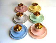 Figgjo Flint Coffee Set with Cake plates, Pastel and Gold Demitasse , Norway Reserved DO NOT buy .. $120.00, via Etsy.