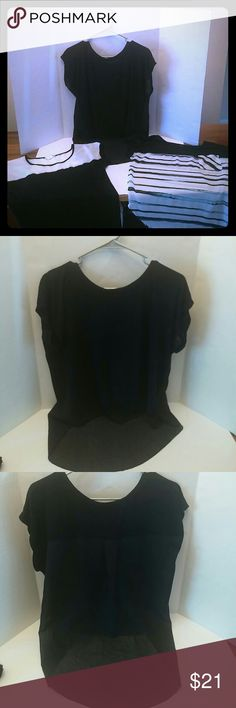 Blouse Bundle Bundle includes three black blouses. * All black blouse is sheer on the back and a very lightweight cotton.  *Striped blouse has a sheer bottom, and the white and black blouse has a sheer white top.     All in great condition! * All black top is a hi-low and a small, but fits like a medium. Other two are Medium. *Bought from Agaci and Target. * striped top has an ink pen mark..see photo...barely noticeable. Agaci Tops Blouses