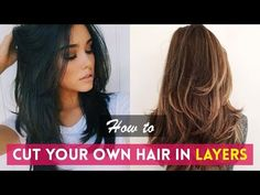 Zeloria Hairstyles : How to: Cut Your Own Hair In Layers DIY Haircuts Tutorials Compilation Layered Haircuts For Medium Hair, Haircut For Thick Hair, Haircuts For Long Hair, Medium Hair Cuts, Long Hair Cuts, Haircut Diy, Ponytail Haircut, Self Haircut, Cut Own Hair