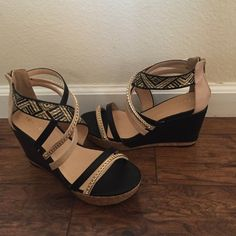 """NIB Torrid Tan and Black Strappy Platform Sandals Beautiful for summer! Size 10W. Features tribal print strap, tan and black straps, as well as straps with gold chain. Platform is 4"""". Measures 10"""" from heel to toe. Widest part of sole is 4"""". torrid Shoes Sandals"""