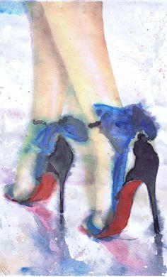 Christian Louboutin Art Fashion Illustration Shoe Watercolour Print, High heels decor Fashion Wall art Fashion Print, Heels fetish Poster  Print my