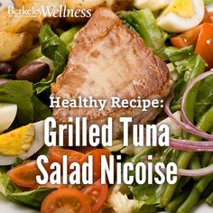 Our take on a grilled tuna salad nicoise has 362 calories, 7g of dietary fiber and 32g of protein per serving, and it's a good source of magnesium and omega-3's. http://www.berkeleywellness.com/healthy-eating/recipes/article/grilled-tuna-salad-nicoise/?ap=2012 #recipe #healthyeating #protein
