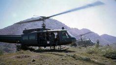 """Air assault pick up on ridge line,"" elements of the 2d Battalion, 8th Cavalry Regiment. [Circa 1968]"
