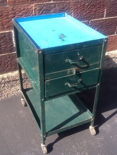 "Vintage LYON CO Industrial Metal 2 Drawer Cabinet On Wheels - 18""x24""x35"" - Good"