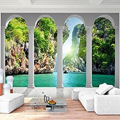 Wall Mural sea nature 352 x 250 cm non-woven wall wallpaper living room bedroom office hallway decoration murals XXL Modern wall decor – MADE IN GERMANY Landscape Blue Green – Runa wallpapers Source by Bedroom Office, Living Room Bedroom, Germany Landscape, Dinning Table Design, Roman Columns, Wall Wallpaper, Office Wallpaper, Modern Wall Decor, Hallway Decorating