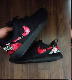 Nike Roshe Triple Black with Custom Red Pink Green by DenisCustoms