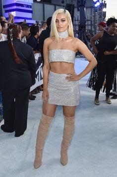 222da881a62 Bebe Rexha sparkly tube top miniskirt ensemble with tan OTK boots