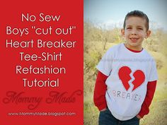 Cute boy's valentine shirt...no sew!!