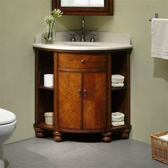 Get inspired by Traditional Bathroom Design photo by Wayfair. Wayfair lets you find the designer products in the photo and get ideas from thousands of other Traditional Bathroom Design photos. Corner Vanity Sink, Bathroom Corner Cabinet, Sink Vanity Unit, Bathroom Sink Cabinets, Bathroom Furniture, Vanity Units, Corner Cabinets, Bathroom Interior, Bathroom Vanity Designs