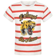 GUCCI Baby Boys White & Red Striped Tiger Top
