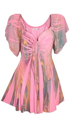 Funfash Plus Size Top Pink Peacock Empire Waist Women's Shirt Blouse – FunFash