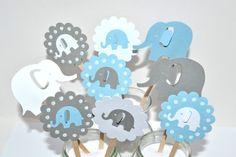 Original Design Set of 3 Cute Elephant Blue/ Grey Mason Jar Centerpieces,Elephant Baby Shower Decor,Cute Elephant Room Decor,Elephant Party Elephant Cake Toppers, Elephant Cupcakes, Elephant Party, Elephant Birthday, Elephant Theme, Elephant Baby Showers, Cute Elephant, Baby Shower Parties, Baby Boy Shower