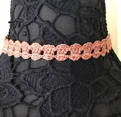 Lace Choker  Copper Pink Color  Handmade Crochet  No Metal