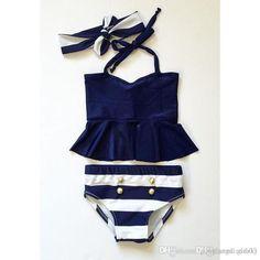 2016 New Baby Girls Stripe Bikini Kids Girl Fashion Swimsuits With Headbands 2016 Babies Three Pieces Swimwear Kids Summer Outfits From Cnbestwholesle, $52.91 | Dhgate.Com