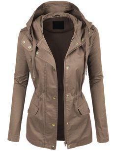 Liking the cargo jacket look. LE3NO Womens Lightweight Cotton Military Anorak Jacket with Hoodie