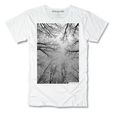 A simple but beautifully graphic image of a forest looking up into the tree tops, and the sky beyond. Print Name: THE FOREST Print Colour: Black Hang Ten, Cool T Shirts, Tee Shirts, T Shirt Label, Buy T Shirts Online, Tee Tree, Cool Graphic Tees, Shirt Shop, Men's T Shirts