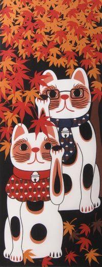 MANEKI NEKO COLLECTION - MOMIJI / Maneki-neko / Fun | Japanese Gifts TENUGUI online shop - wuhaonyc
